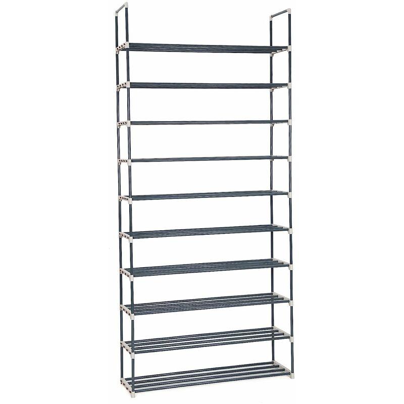 Diy 50 Pairs Of Shoes 10 Tiers Metal Shoe Rack Shelf Storage Organiser Black Lsa10g