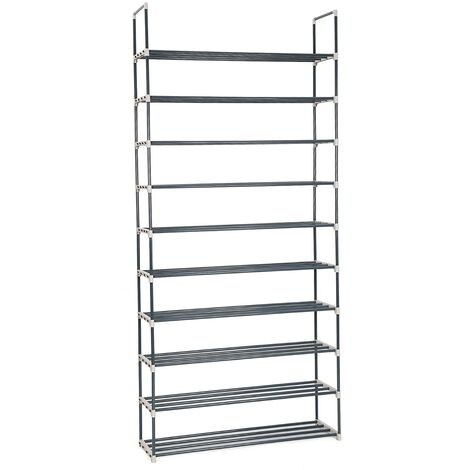 DIY 50 Pairs of shoes 10 Tiers Metal Shoe Rack Shelf Shoe Storage Organiser Black LSA10G