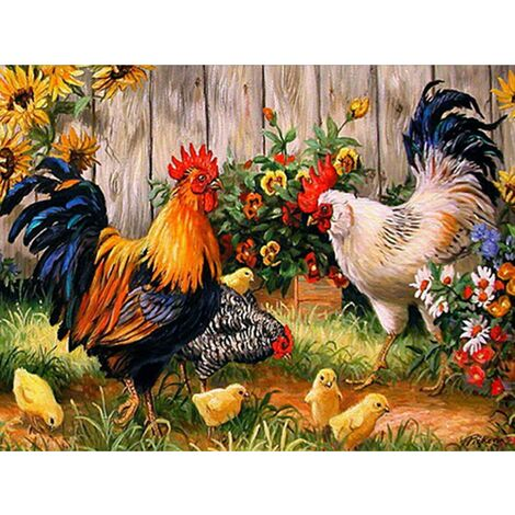 DIY 5d Diamond Painting by Numbers kit, Diamond Embroidery Kit Full Drill Rooster Chickens Chickens Cross Stitch Embroidery Arts Craft on Canvas Wall Decoration 35 x 45 cm