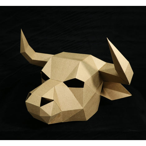 DIY Animal Ox Head Creative Party Paperwork Paste Costume Mask White Funny Hasaki