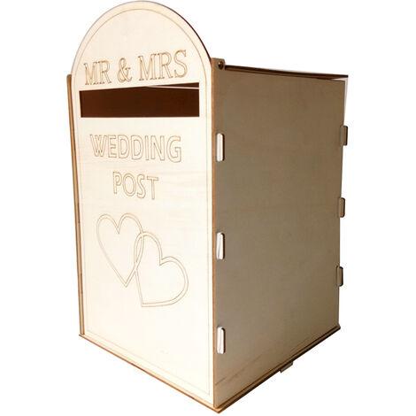 DIY boda de madera Buzon Post Box con el titular de bloqueo rustico hueco tarjeta de regalo para recepcion aniversario de boda partido de la decoracion, estilo 1