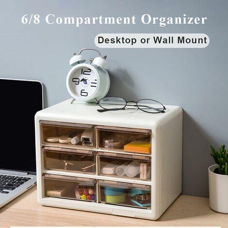 DIY Drawer Parts Storage Unit Organizer Cabinet Home Garage Tool DIY Box Case (Milk White, A)