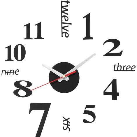DIY Etiqueta grande 3D Adhesivos para reloj de pared Diseño moderno Hasaki
