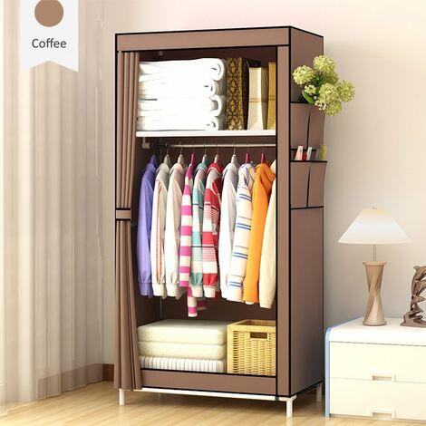 DIY Non-woven Fabric Wardrobe Steel Frame Clothes Closet Storage Organizer With Hanging Rack coffee 70x45x150cm