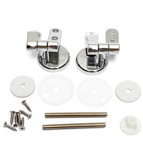 DIY Repair Replacement Toilet Seat Hinges Mountings Set Chrome w / Fittings Screws Hasaki