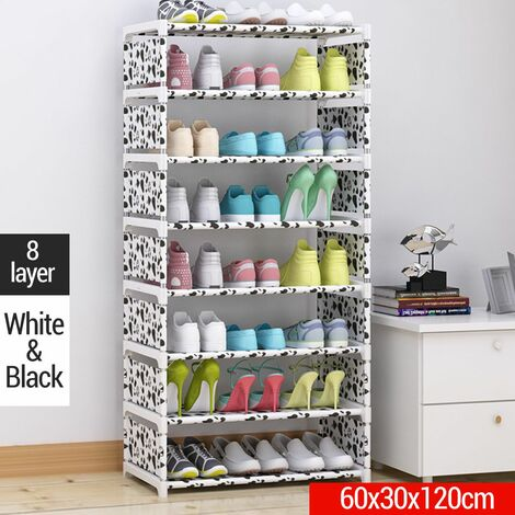 DIY Shoe Rack 8 Layers Thick Non-woven Fabric Home A Stainless Steel Shoe Storage