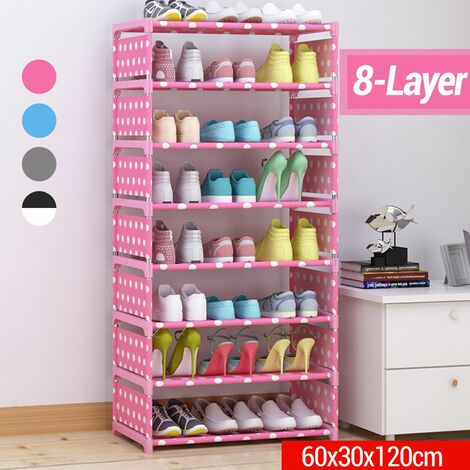 DIY Shoe Rack 8 Layers Thick Non-woven Fabric Home C Stainless Steel Shoe Storage