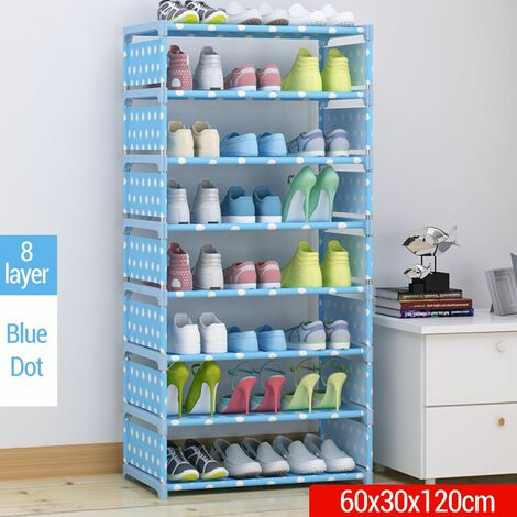 DIY Shoe Rack 8 Layers Thick Non Woven Fabric Stainless Steel Shoe Storage Home D