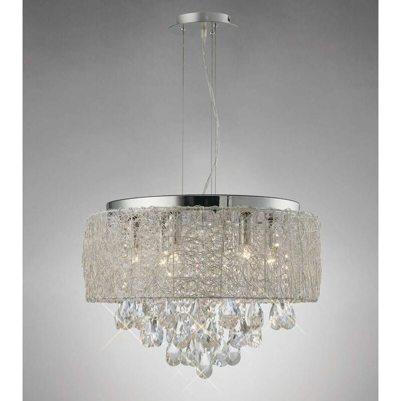Image of Adeline 6 Bulbs Suspension Polished Chrome / Crystal