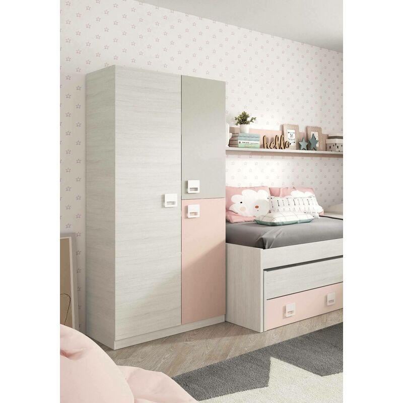 Armadio porta armadio scorrevole con mensole e barre appendiabiti con specchio adatto per camera da letto,175 x 59 x 210 cm materiali di legno