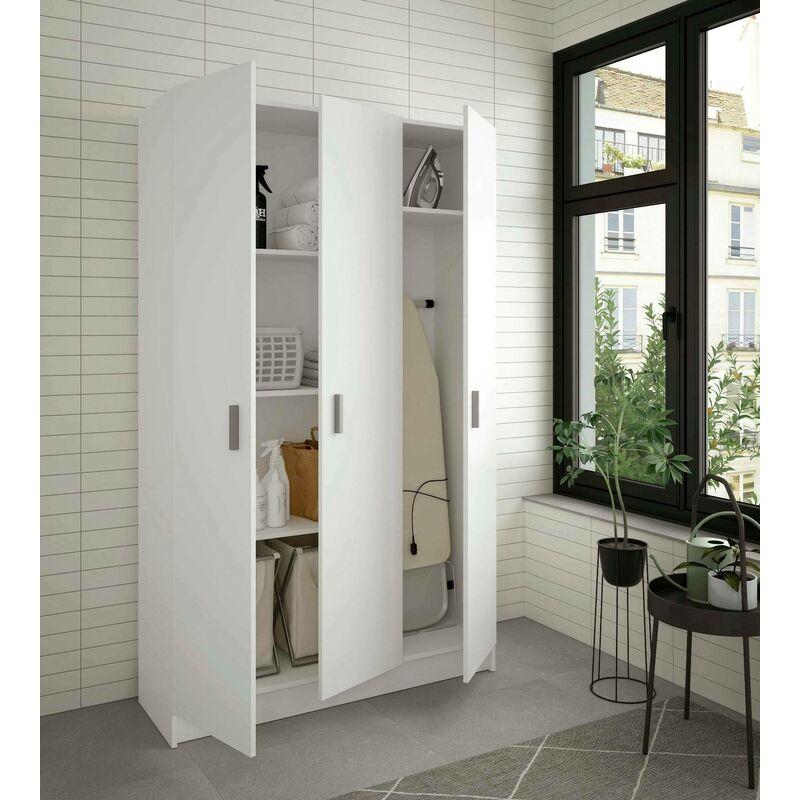 Dmora. Armario multiusos Gaia con tres puertas y cuatro estantes ajustables, de color blanco brillante, mide 180 x 109 x 37 cm
