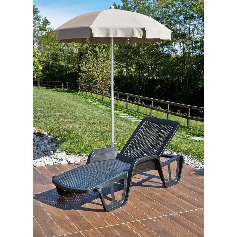 Bain de soleil d'extérieur, bain de soleil pliant, Empilable, Fabriqué en Italie, 192 x 71 x 45 cm, Couleur Anthracite - Dmora