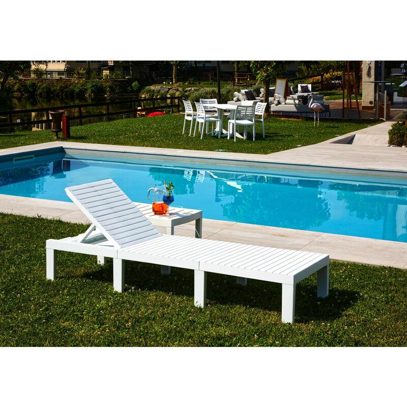 Bain de soleil d'extérieur modulable, bain de soleil, sans coussins, Made in Italy, 65x195x78cm, Couleur Blanc - Dmora