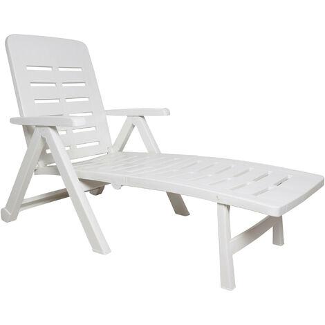 Dmora Chaise longue de jardin pliante à roulettes, bain de soleil, Made in Italy, 72x189x96, Couleur