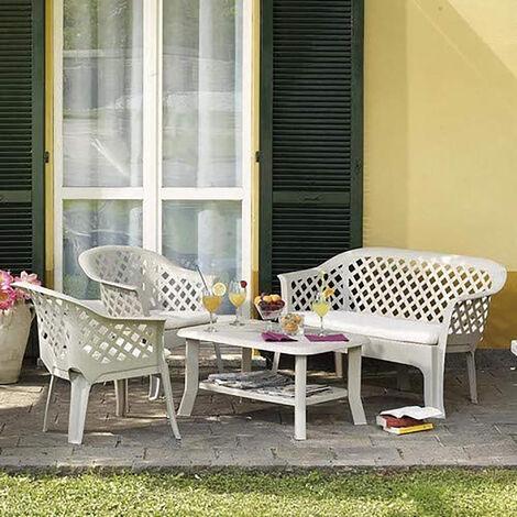 Dmora Conjunto exterior que consta de 2 sillones 1 banco 1 mesa de centro, con cojines, Made in Italy, Color