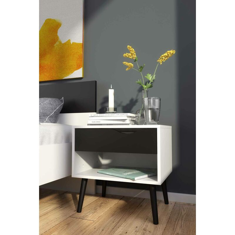 Dino Nachttisch mit einer Schublade und einem Ablagefach, Farbe Schwarz-Weiß, 50 x 49 x 39 cm. - Dmora