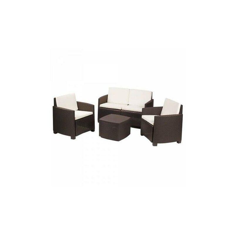 Ensemble d'extérieur composé de : 2 fauteuils une place, 1 canapé deux places, 1 table conteneur, avec 4 coussins, Made in Italy, couleur moka - Dmora