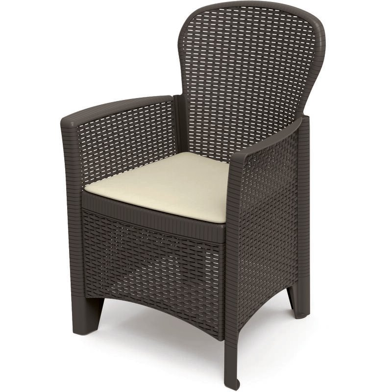 Fauteuil modulable effet rotin, Made in Italy, 60 x 58 x 89 cm, Couleur Anthracite - Dmora