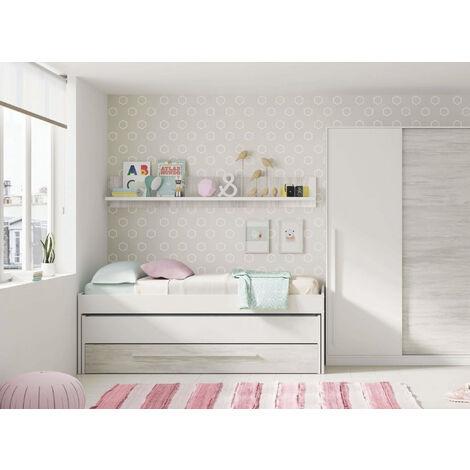Dmora Kinderzimmer mit Bett und Regal, Farbe Weiß, Maße cm 199 x 65 x 96