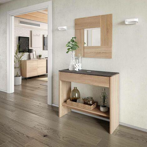 Dmora Meuble d'entrée avec tiroir et miroir, couleur chêne avec détail noyer, cm 92 x 149 x 33.