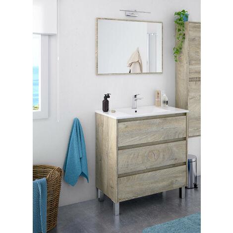 Dmora Meuble sous lavabo avec trois tiroirs et un miroir, couleur brune, cm 80 x 86 x 45.