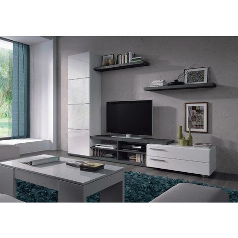 Dmora. Mueble de TV compuesto de un módulo alto con una puerta, un módulo bajo para TV con dos cajones y dos estantes, y dos baldas, de color gris ceniza y blanco brillante, de 180x240x41cm