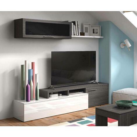 Dmora. Mueble de TV con soporte de pared y estante, color gris ceniza con detalles en blanco brillante, de 44x200x41cm