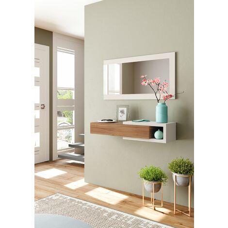 Dmora. Mueble de vestíbulo AD3 con cajón y espejo, color roble y blanco ártico, 95x69x26cm.
