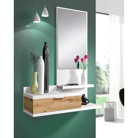 Dmora. Mueble de vestíbulo con cajón y espejo, color roble con inserciones en blanco brillante, de 81x186x29cm.