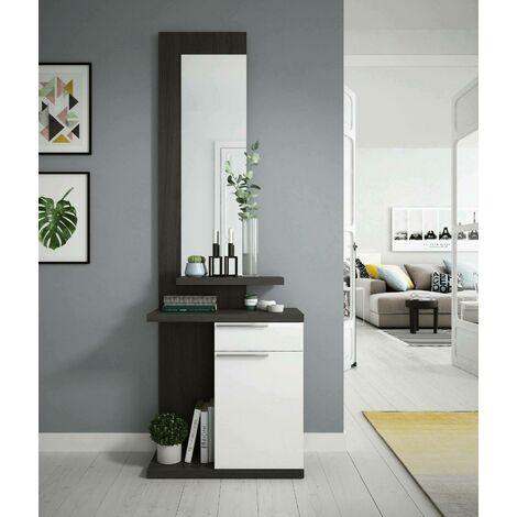 Dmora. Mueble de vestíbulo con espejo, puerta y cajón, gris ceniza y blanco brillante, de 284x61x29cm
