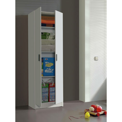 Dmora Multipurpose cabinet with two doors, white, 180 x 59 x 37 cm