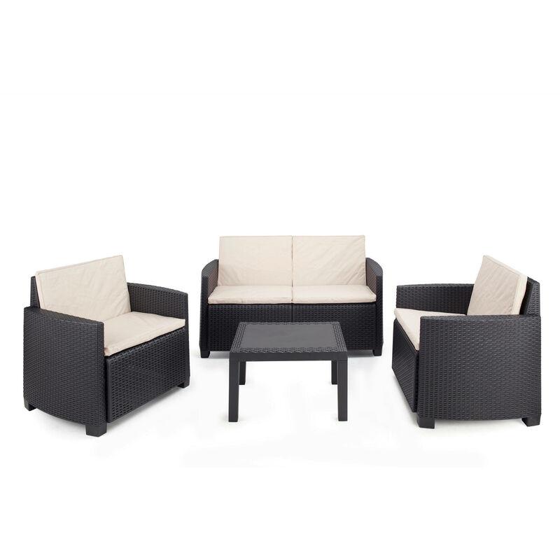 Dmora Salon intérieur et extérieur composé de : 2 fauteuils, 1 canapé 2 places et 1 table basse avec 8 coussins, Made in Italy, coloris anthracite