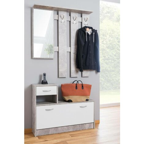 Dmora Rudi hall furniture with mirror and shoe cabinet, 100 x 180 x 25 cm.