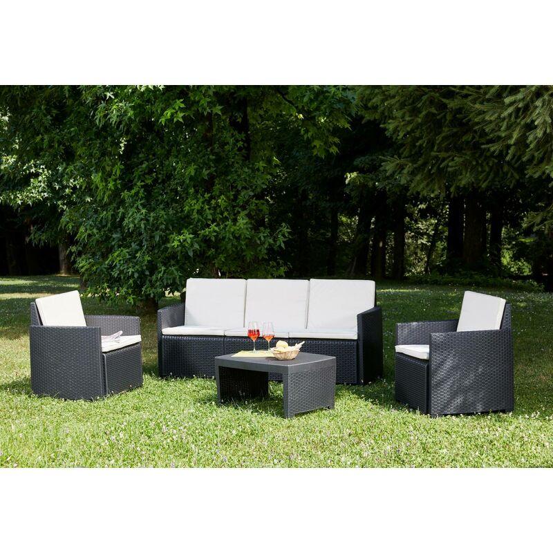 Salon d'extérieur avec 2 fauteuils, 1 canapé et 1 table basse, avec coussins, Made in Italy, Couleur Anthracite - Dmora