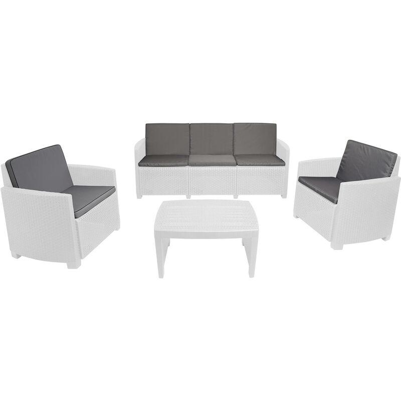 Dmora Salon d'extérieur avec 2 fauteuils, 1 canapé et 1 table basse, avec coussins, Made in Italy, Couleur Blanc