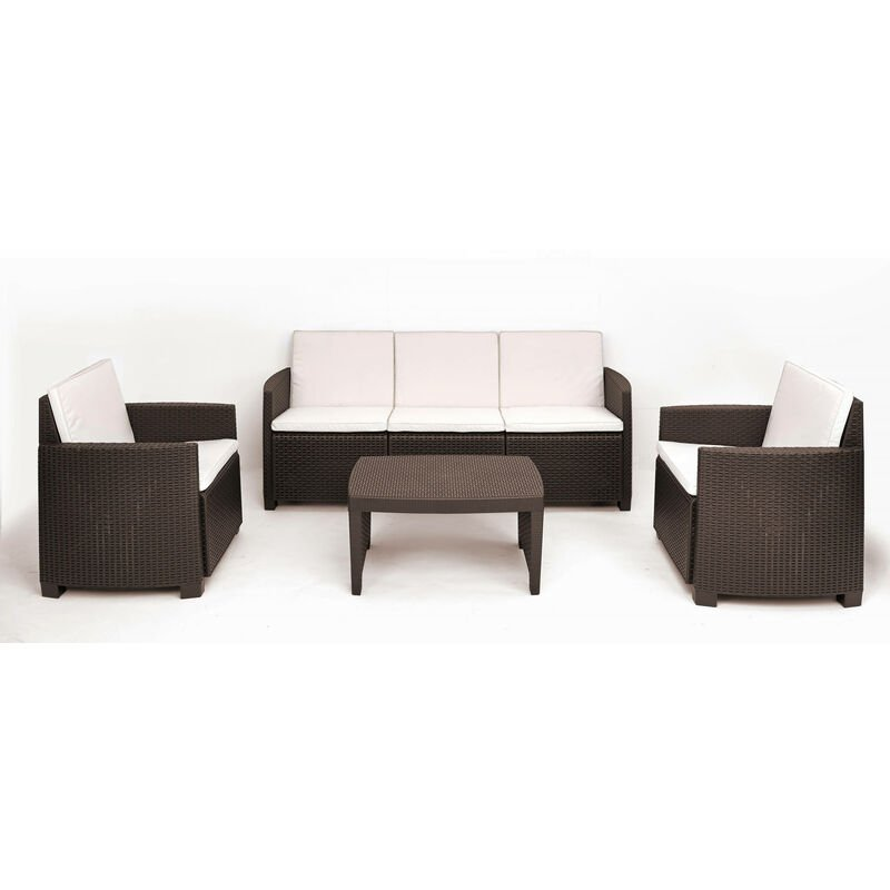 Dmora Salon d'extérieur avec 2 fauteuils, 1 canapé et 1 table basse, avec coussins, Made in Italy, Couleur Marron