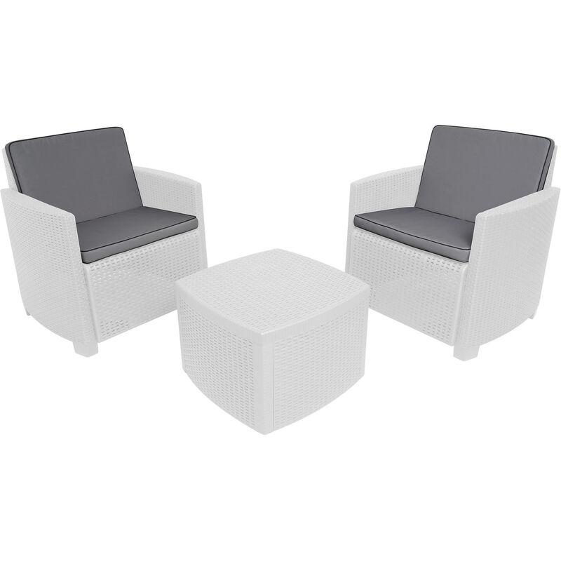 Dmora Salon d'extérieur Made in Italy, composé de 2 fauteuils et 1 table conteneur, avec coussins, Couleur Blanc