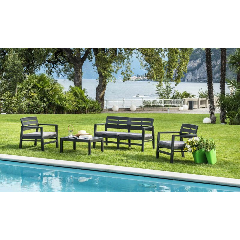 Salon extérieur avec 2 fauteuils 1 canapé 1 table basse avec coussins, Made in Italy, Couleur Anthracite - Dmora