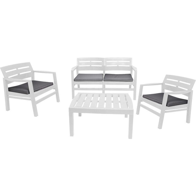 Salon extérieur avec 2 fauteuils 1 canapé 1 table basse avec coussins, Made in Italy, Couleur Blanc - Dmora