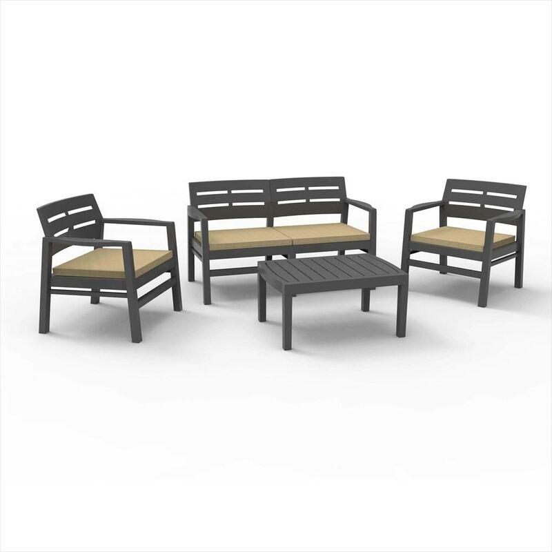 Salon extérieur avec 2 fauteuils 1 canapé 1 table basse avec coussins, Made in Italy, Couleur Marron - Dmora