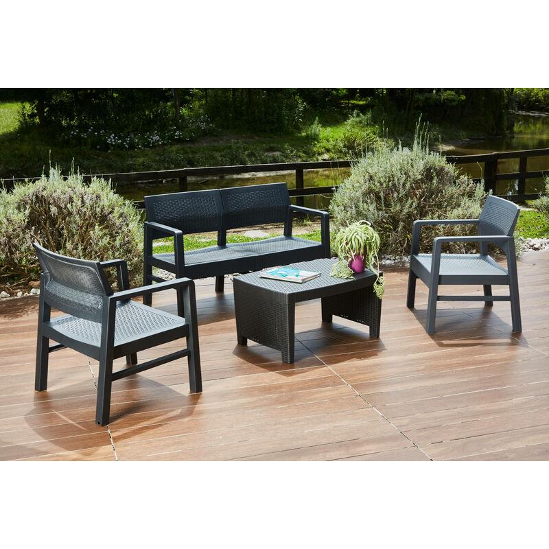 Salon extérieur composé de: 2 fauteuils, 1 canapé deux places et 1 table basse, avec 8 coussins, Made in Italy, Anthracite - Dmora