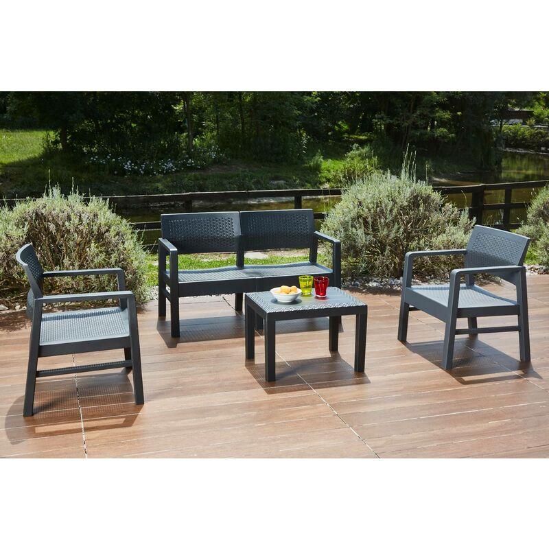 Dmora Salon extérieur composé de: 2 fauteuils, 1 canapé deux places et 1 table basse, avec 8 coussins, Made in Italy, Anthracite