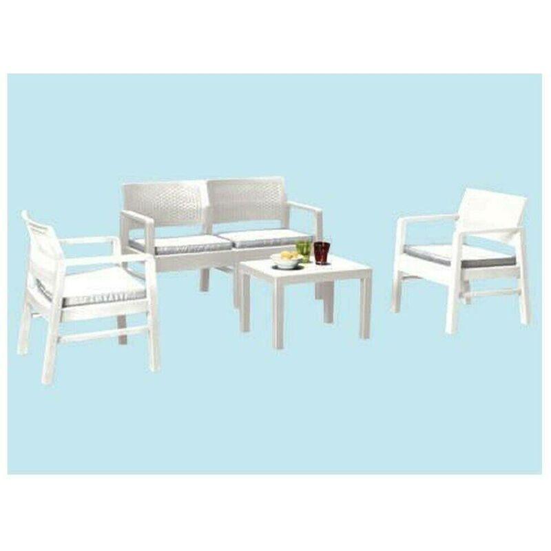 Dmora Salon extérieur composé de: 2 fauteuils, 1 canapé deux places et 1 table basse, avec 8 coussins, Made in Italy, Blanc