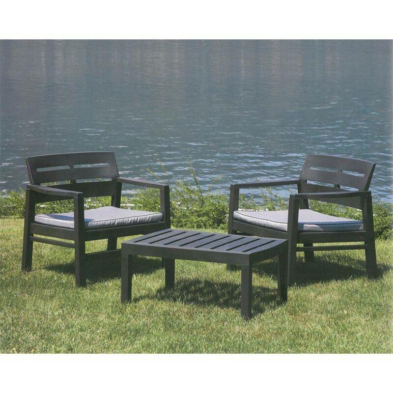 Salon intérieur et extérieur composé de 2 fauteuils 1 table basse avec coussins, Made in Italy, Couleur Anthracite - Dmora