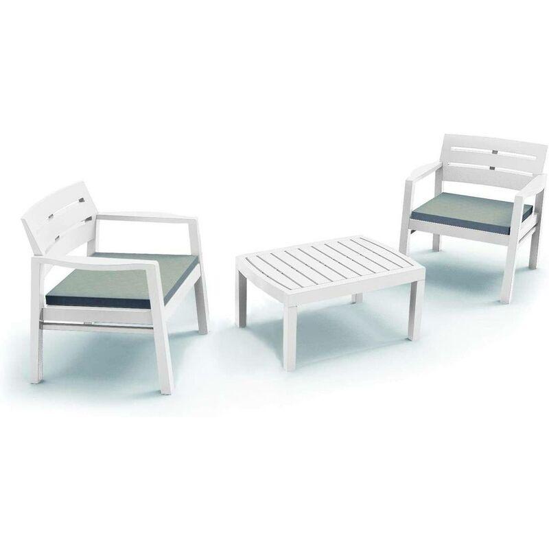 Salon intérieur et extérieur composé de 2 fauteuils 1 table basse avec coussins, Made in Italy, Couleur Blanc - Dmora
