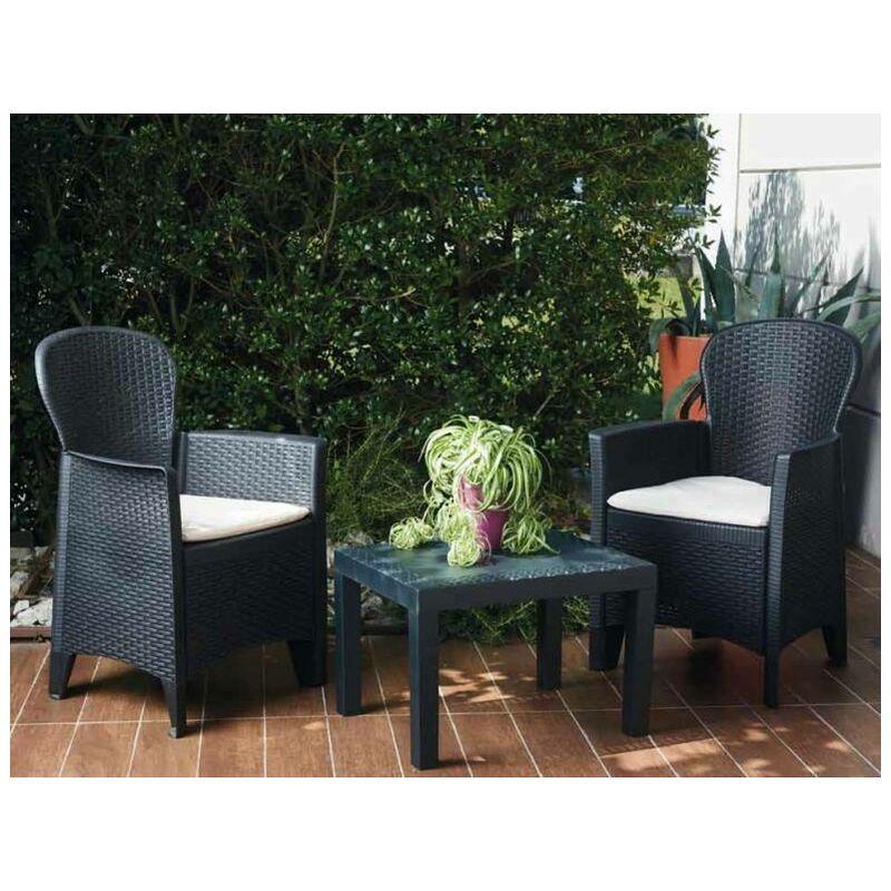 Salon intérieur et extérieur composé de: 2 fauteuils et 1 table basse, avec 2 coussins, Made in Italy, Couleur Anthracite - Dmora