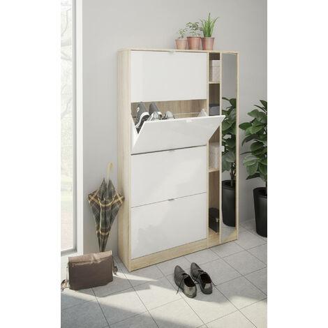 Dmora Scarpiera a quattro ante con ribalta e un'anta a specchio con tre ripiani interni, colore rovere e bianco lucido, cm 101 x 163 x 24.