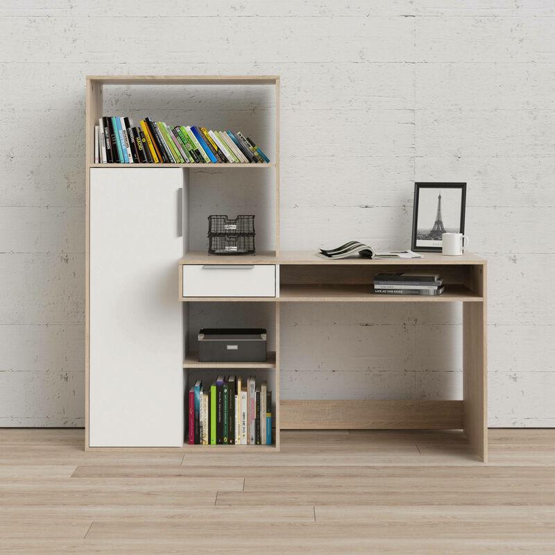 Dmora scrivania multifuzione con libreria, cassetto e anta, colore bianco e rovere, cm 162.8 x 155.4 x 60.3