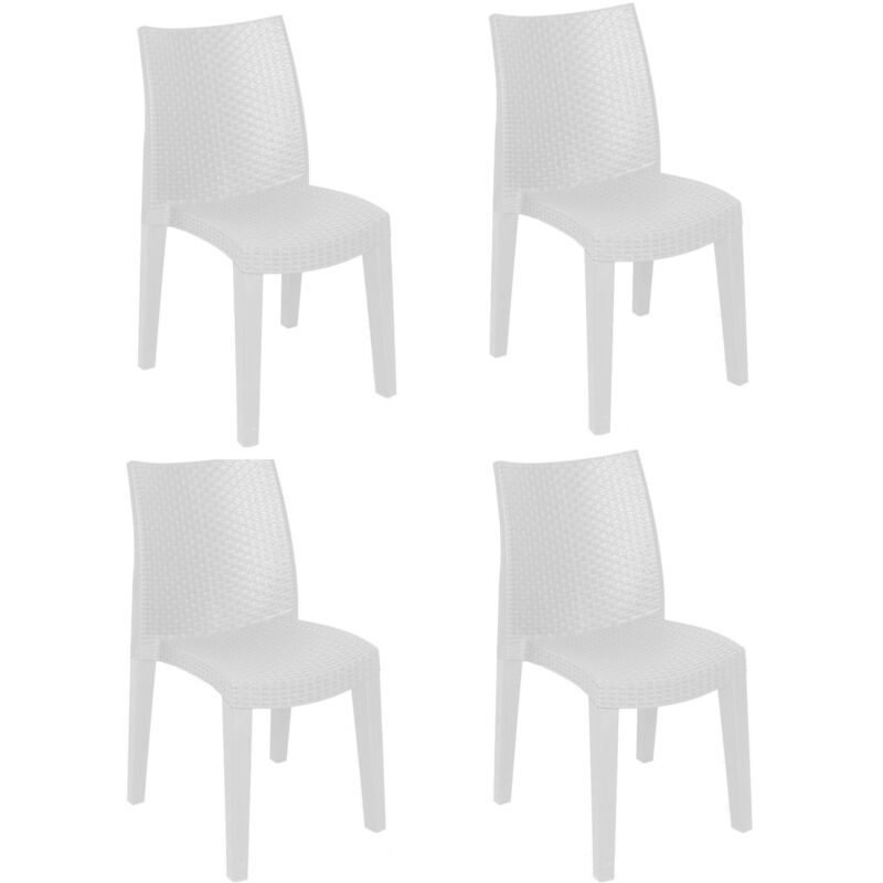 SET de 4 chaises empilables effet rotin, Made in Italy, 48x55x86 cm, Couleur Blanc - Dmora