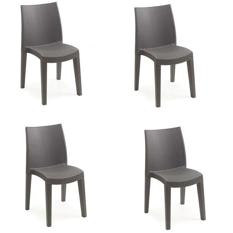 SET de 4 chaises empilables effet rotin, Made in Italy, 48x55x86 cm, Couleur Marron - Dmora